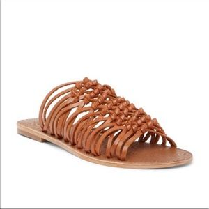 Seychelles brown woven leather open toe sandals 8
